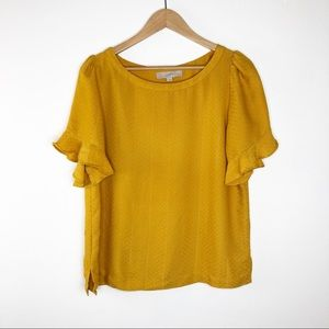 🌿 Loft Mustard Yellow Blouse